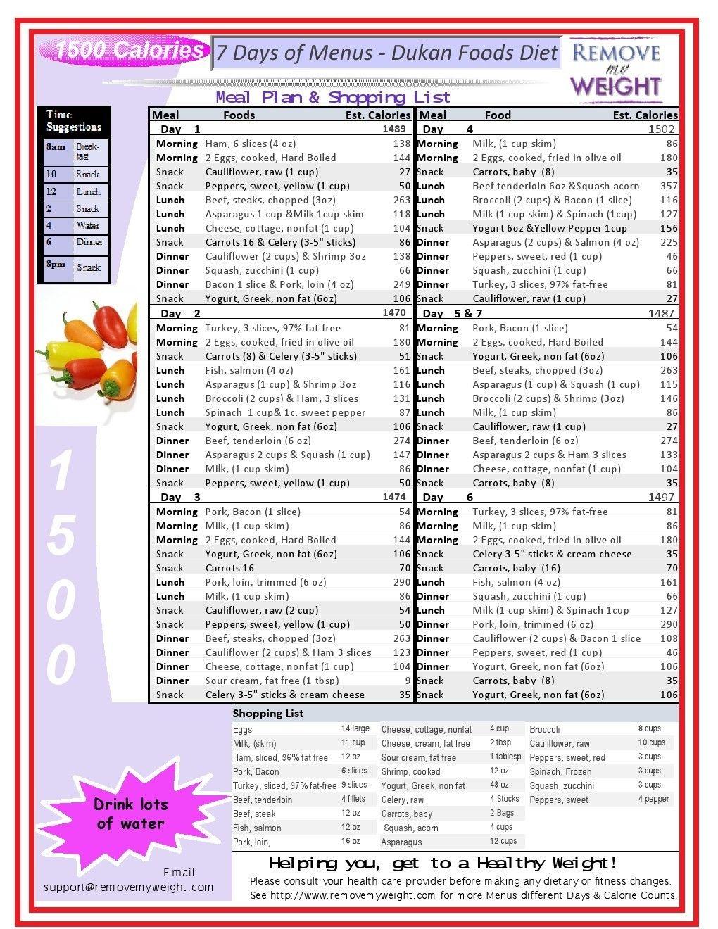 1500 Calorie Diet Menu Plan Dukan Cruise Phase 1100 Calorie