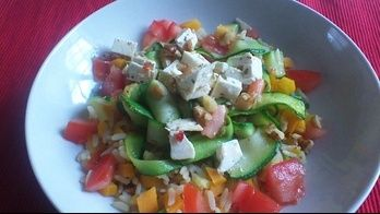 Healthy meal with feta and rice!