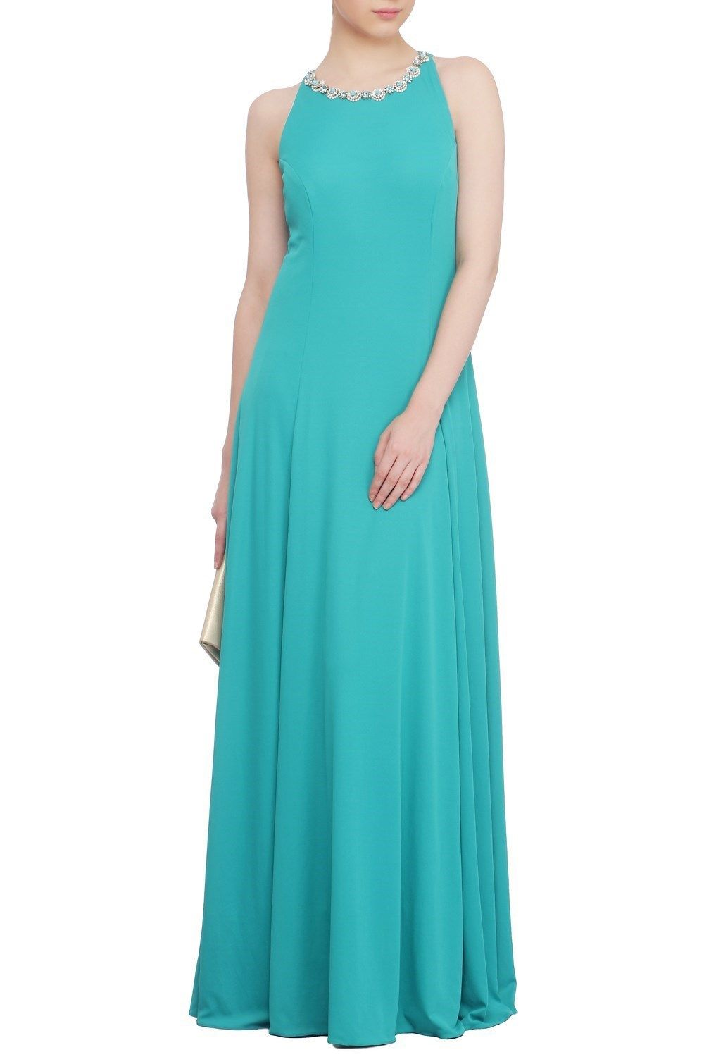 Turquoise Blue Sleeveless Floor Length Party Wear Gown @ looksgud.in ...