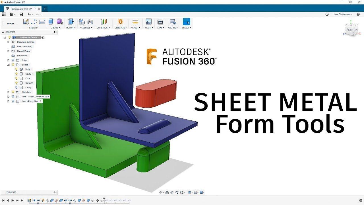 Sheet Metal Form Tool Fusion 360 Tutorial Larslive 178 Sheet Metal Fusion Metal Forming
