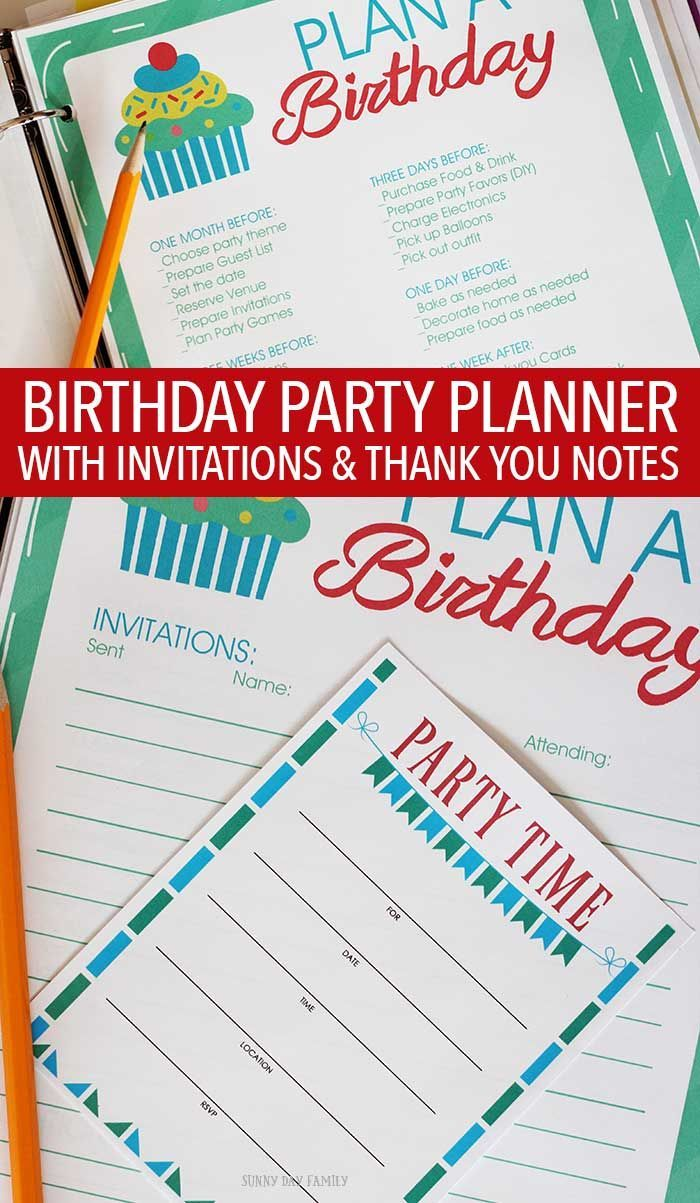 All in One Birthday Party Planner Printable Set | Birthday parties ...