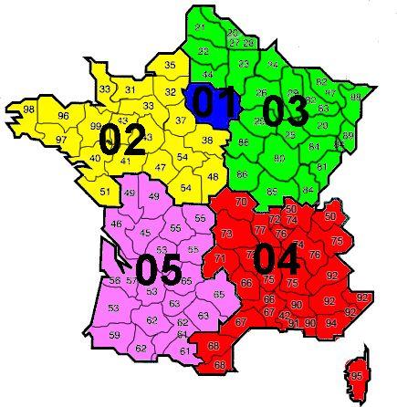 France Indicatif Telephonique Carte De France Departement Les