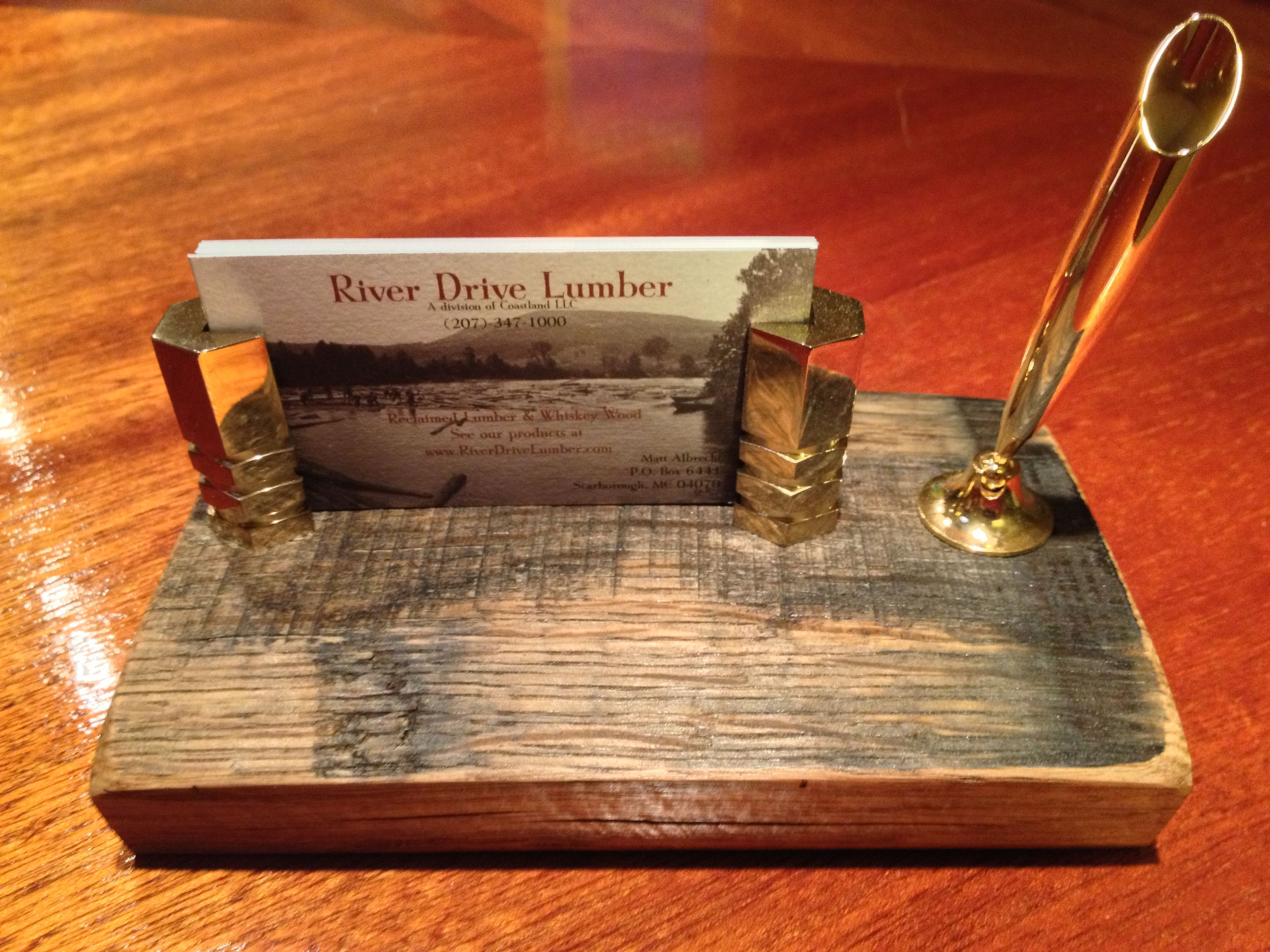 Custom business card holder with pen funnel mounted on a piece of a custom business card holder with pen funnel mounted on a piece of a whiskey barrel stave colourmoves Images