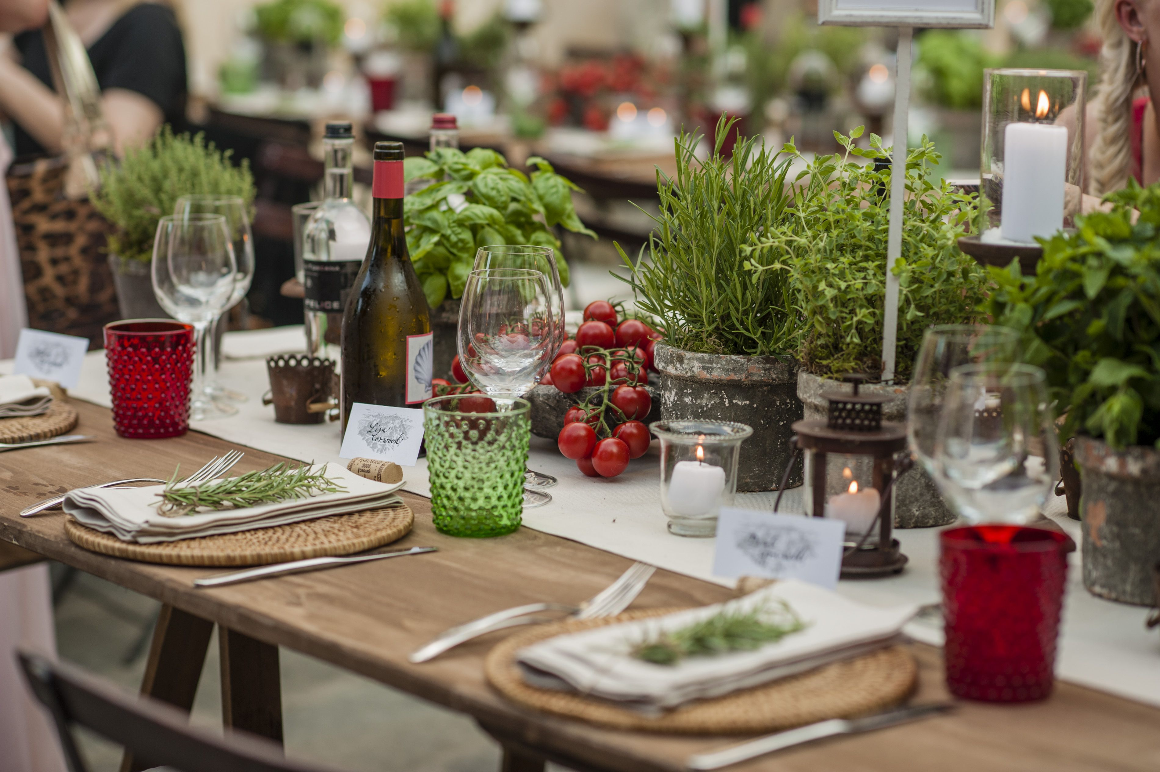 Rustic Italian Village Party In Tuscany Herbs Tomatoes And Fresh