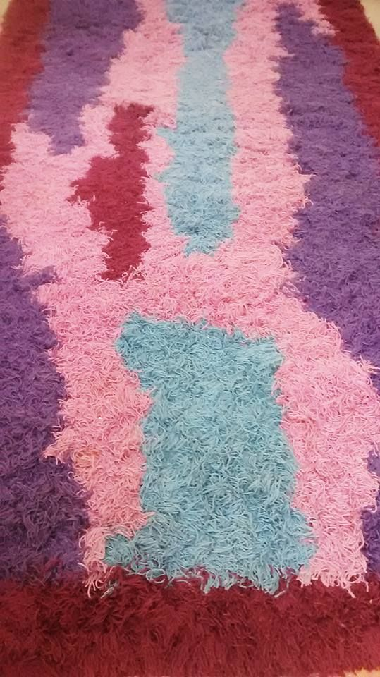 If cool jazz were a rug....This would be it.....Cool tones splash to create free form design...Resulting in one of the most striking Ryas we've seen....  Danish Rya Rug Purple Blue Pink Wine Rya Ege Scandinavian  Loft Christiania  Luxe