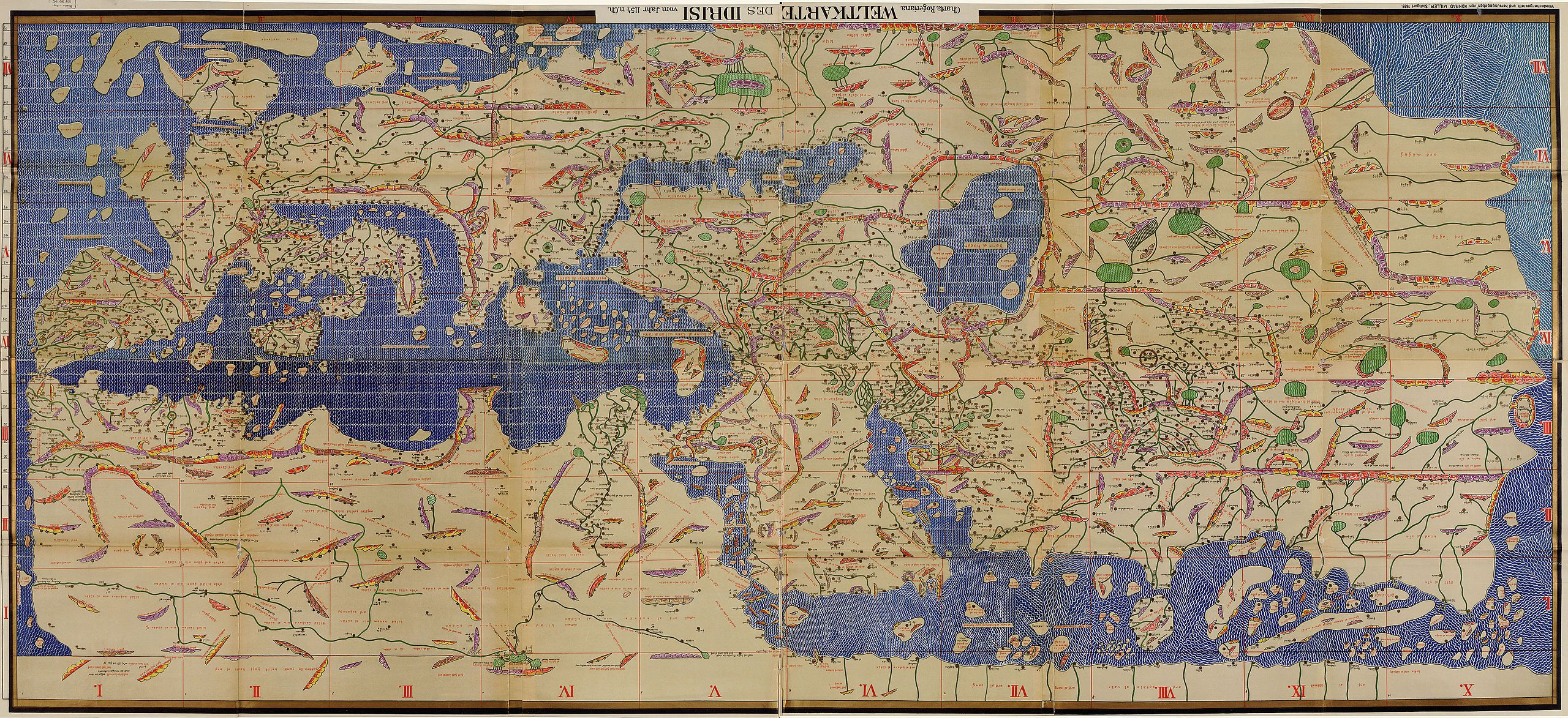 Tabularogeriana upside down tabula rogeriana wikipdia world the tabula rogeriana drawn by al idrisi for roger ii of sicily in one of the most advanced ancient world maps modern consolidation created from the 70 gumiabroncs Images