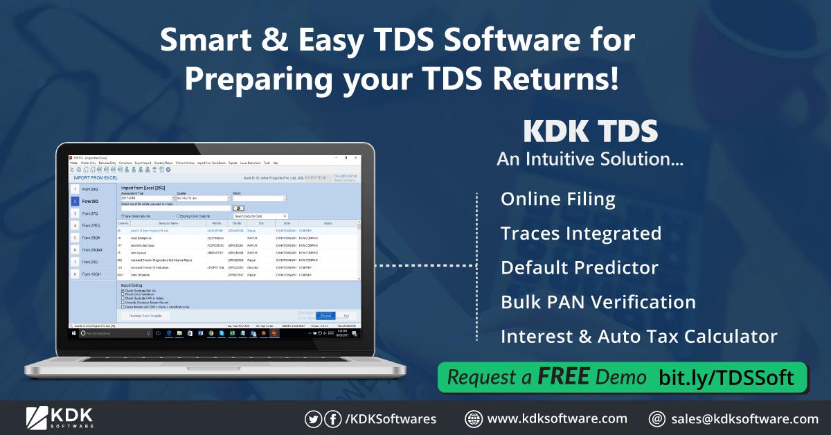 Smart Easy Tds Software For Preparing Your Tds Returns Online Filing Traces Integrated Default Predicto With Images Tax Software Tax Deducted At Source Filing Taxes