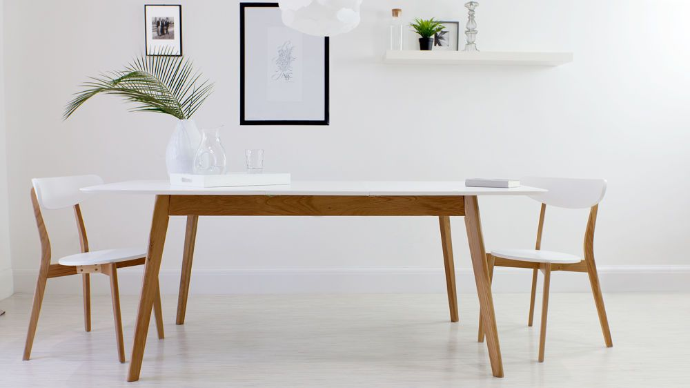 White Table Uk Part - 20: Oak And White Extending Dining Table | 8 Seater | UK | Retro Hipster  Homeless Chic | Pinterest | Dining Chairs, Room And Modern