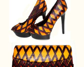 Black Friday Sale African Ankara Bag And Platform Shoe Gift Set - Yellow And Red Platform Heels And Clutch - Womens High Heels - Platforms T.