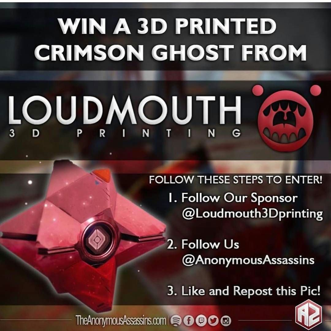 Vielleicht hab ich ja auch mal Glück.  @loudmouth3dprinting @theanonymousassassins  #win #destiny #ghost #3dprinting #want #l4l by laura_rmp