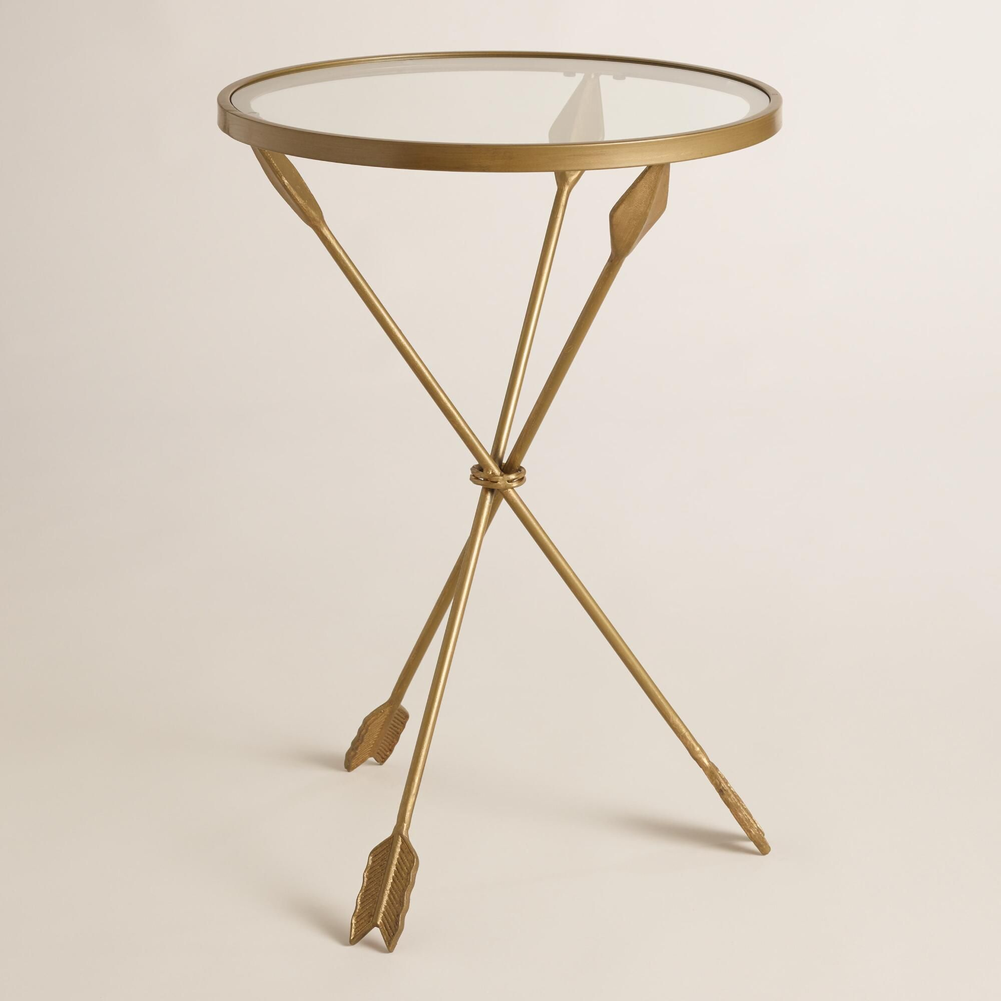 gold metal and glass arley accent table  tripod arrow and living  - distressed gold arrows create the tripod base of our side table a uniqueaccent next