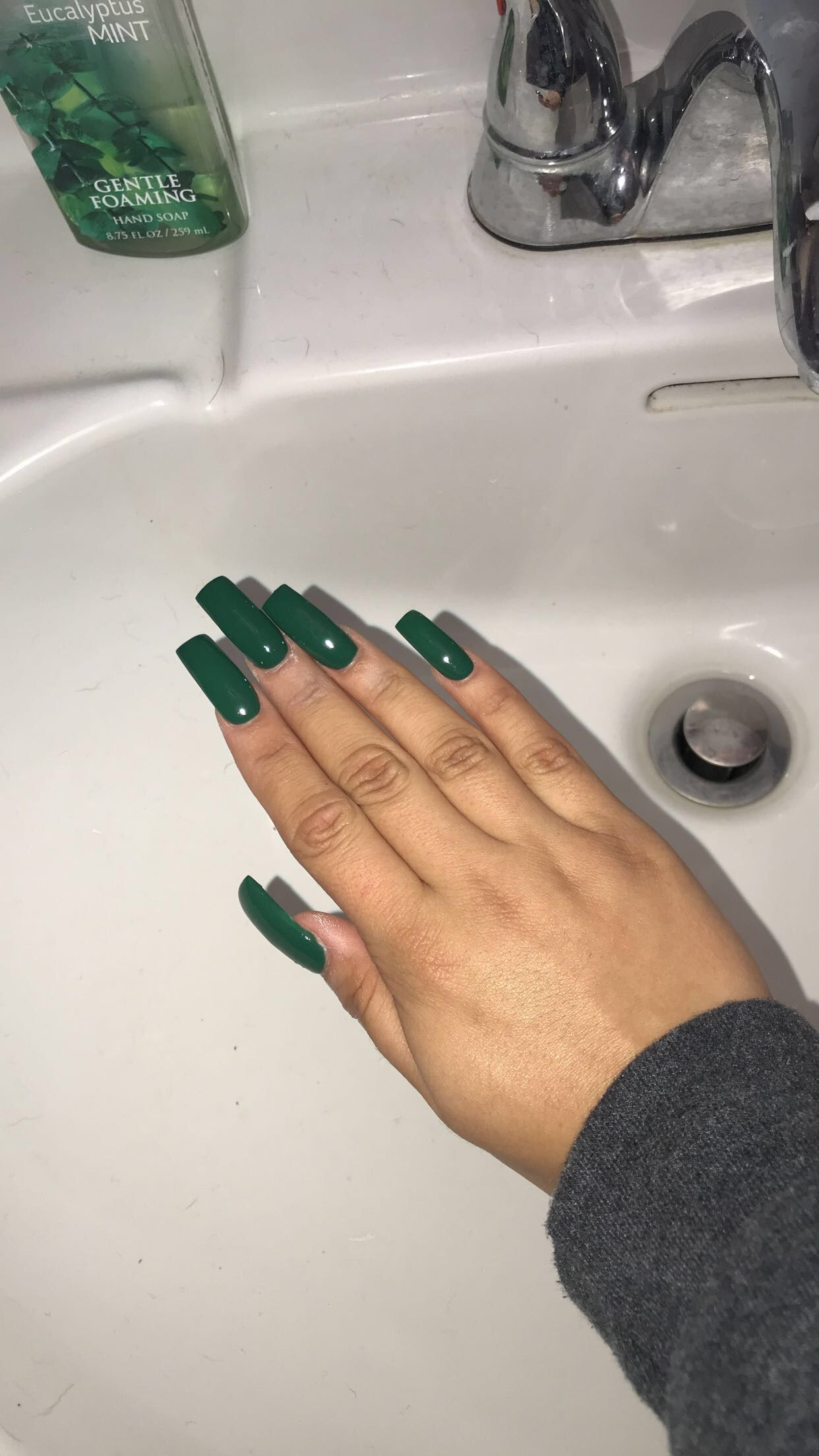 Dark Green Long Nails Dark Green Nails Green Acrylic Nails Green Nails