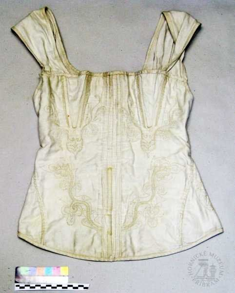 """""""bodice, white, embroidered, with straps, plain weave"""" in the collections of Hornické muzeum Příbram, ID: H/Et708 - This is, in fact, a Regency/Romantic era corded corset, the first Czech example of the type I've ever seen"""