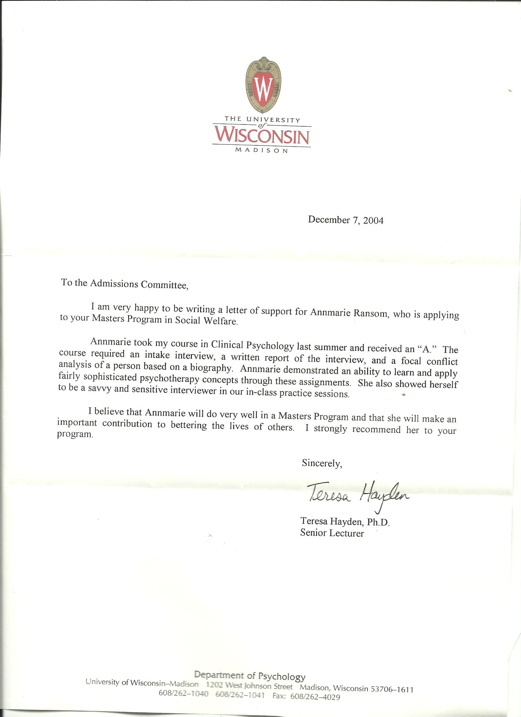 Graduate School Recommendation Letter  Letter Of Recommendation