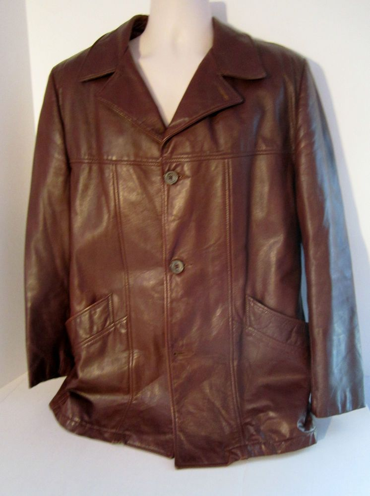 London Fog Vintage 70's Leather Car Coat Jacket Zip Out Fur Lined ...