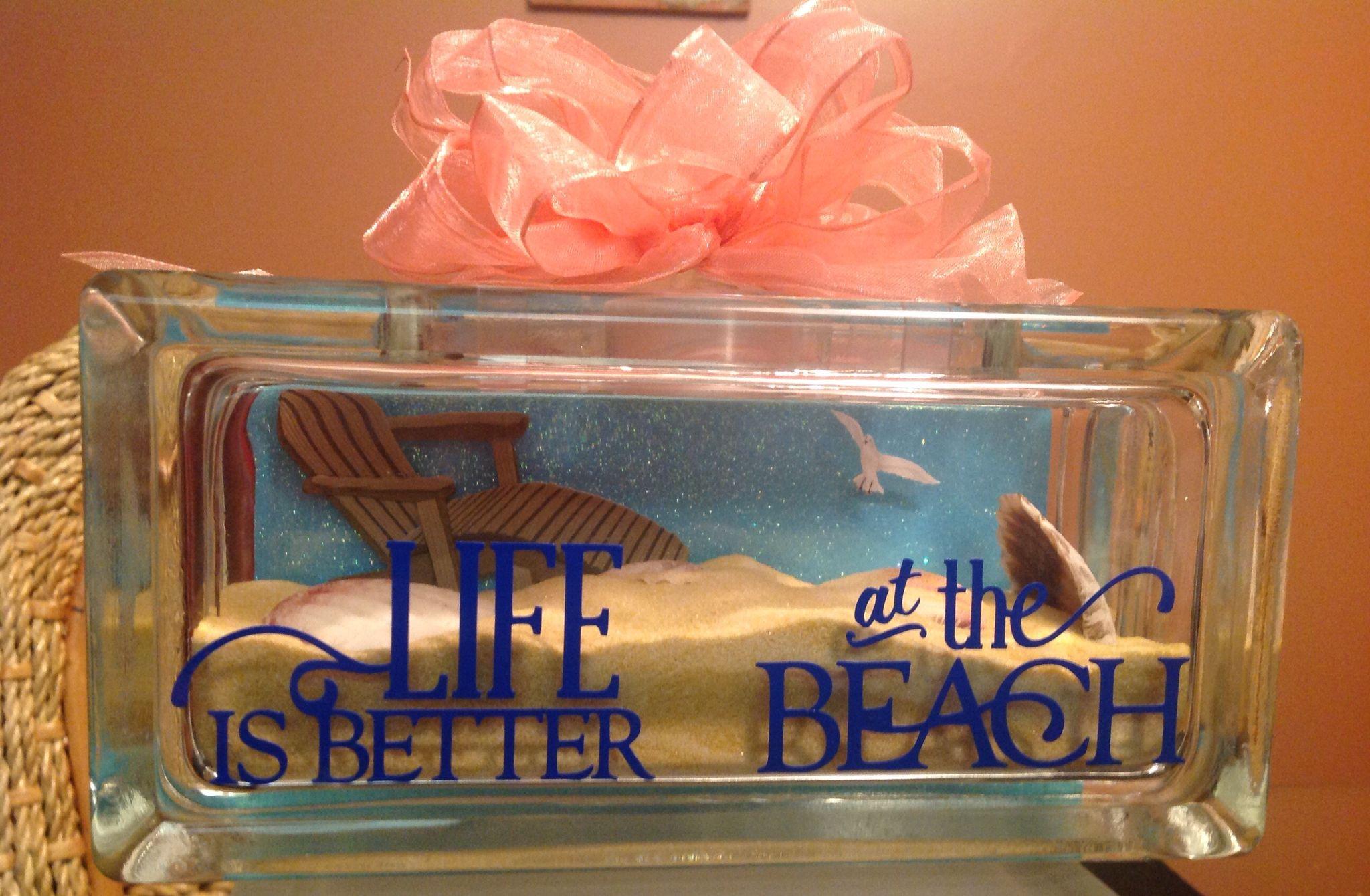 Beach Theme Glass Block Glass Block Crafts Christmas