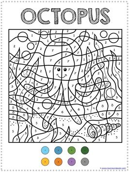 Color By Number Ocean Animals Coloring Pages