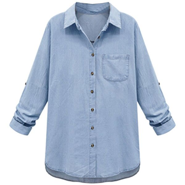 aa5ab31e36a Light Blue Pocket Button Roll-up Sleeve Loose Denim Shirt ( 35) ❤ liked