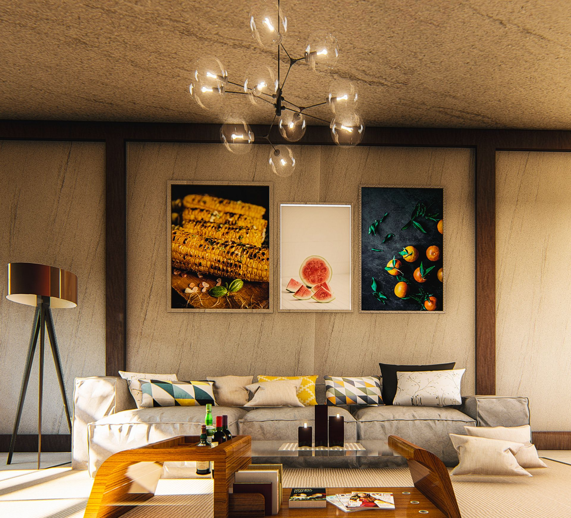 Modern Living Room Decor by Bishoy Emad, Egypt in 3  Living