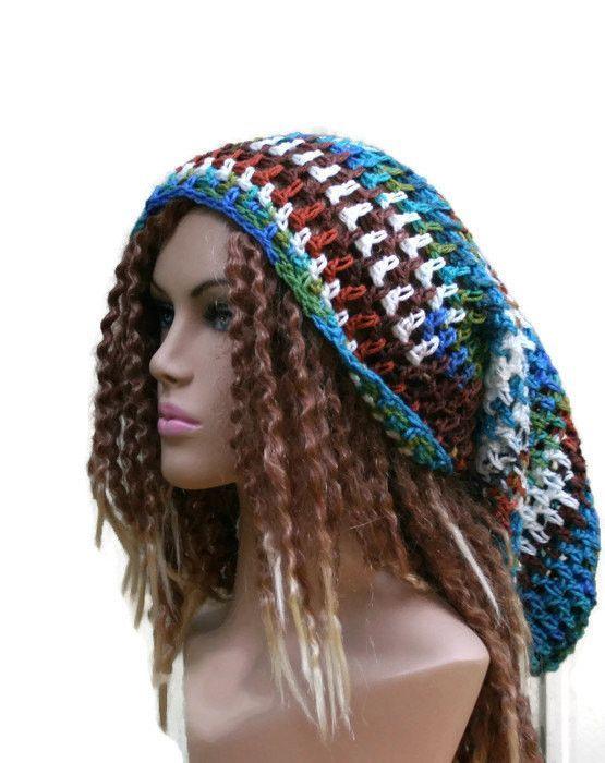 Dreadlocks hat, Very long hat, Dread Tam hat, Slouchy Beanie, Hippie ...