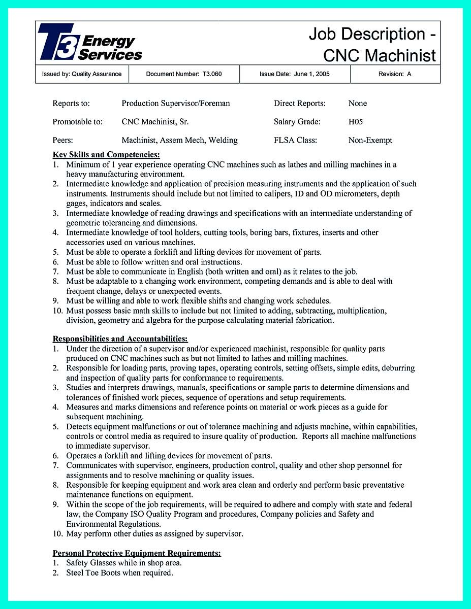 cool writing your qualifications in cnc machinist resume a must