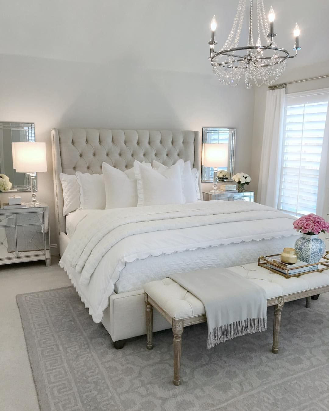 Bedroom inspo, glam bedroom, tufted bed, classic gray ...
