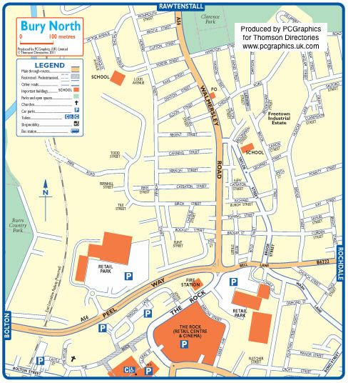 Map of Bury North created in 2011 for Thomson Directories One of