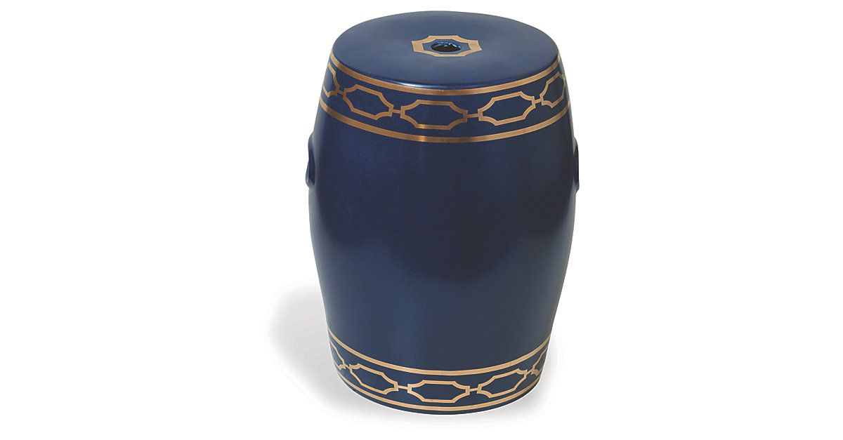 Gold details embellish this beautiful indigo garden stool, which is crafted of porcelain in a classic silhouette.