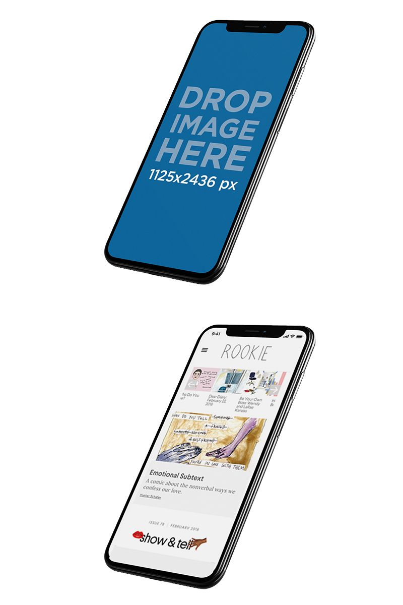 Angled Floating Iphone X Mockup Against A Transparent