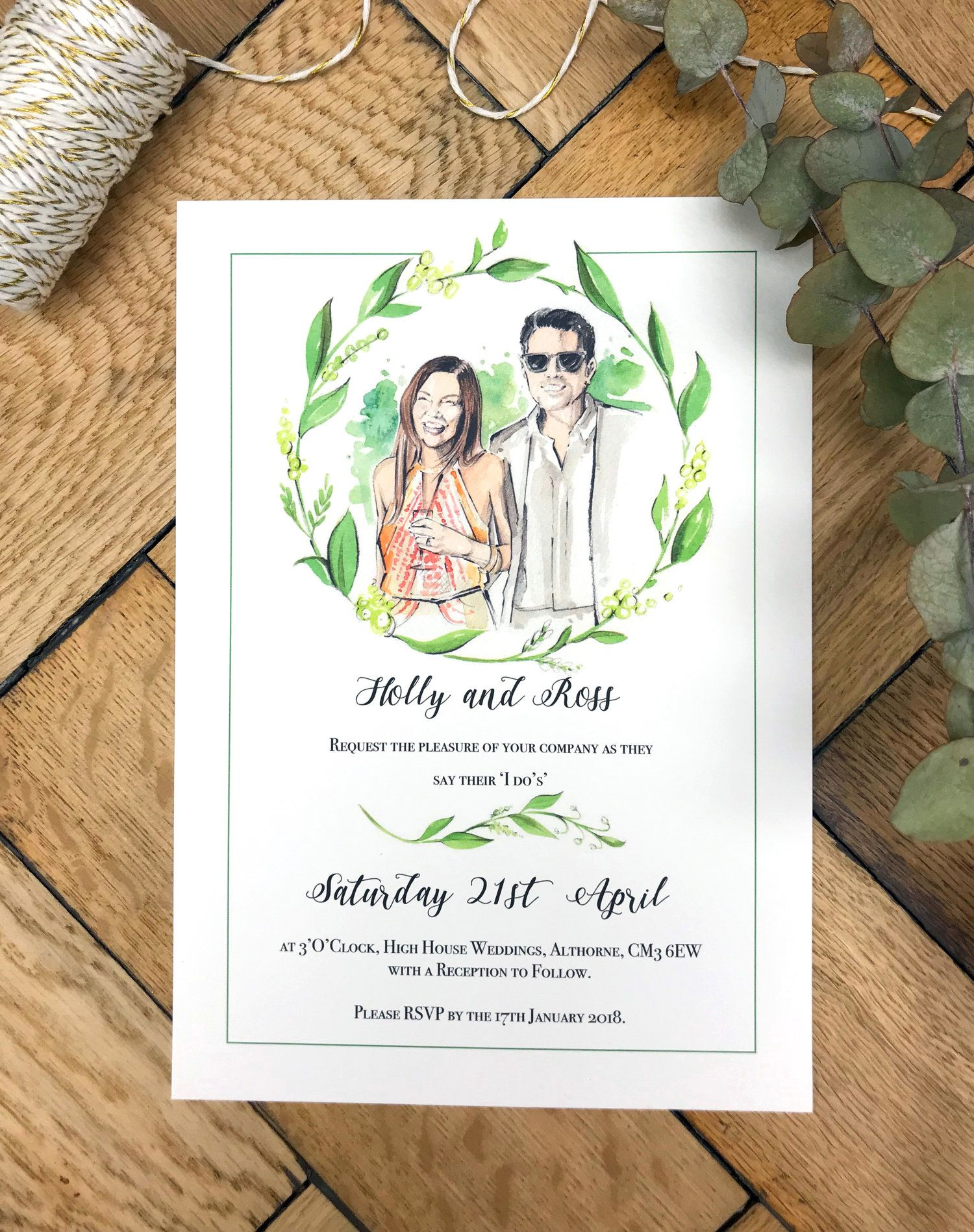 S A M P L E Watercolor Portrait Wedding Invitation Watercolour