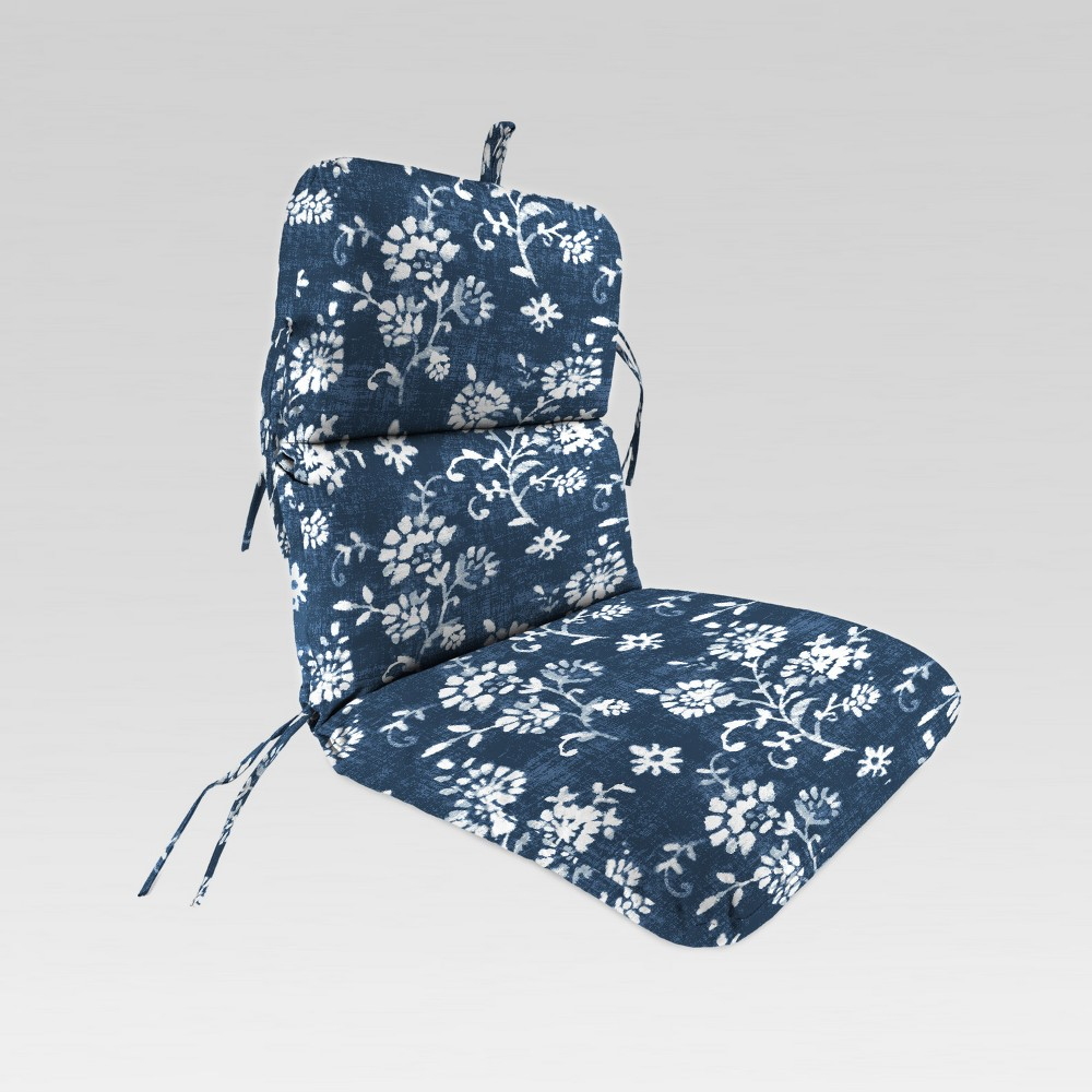 Outdoor Knife Edge Dining Chair Cushion Navy White Floral Blue