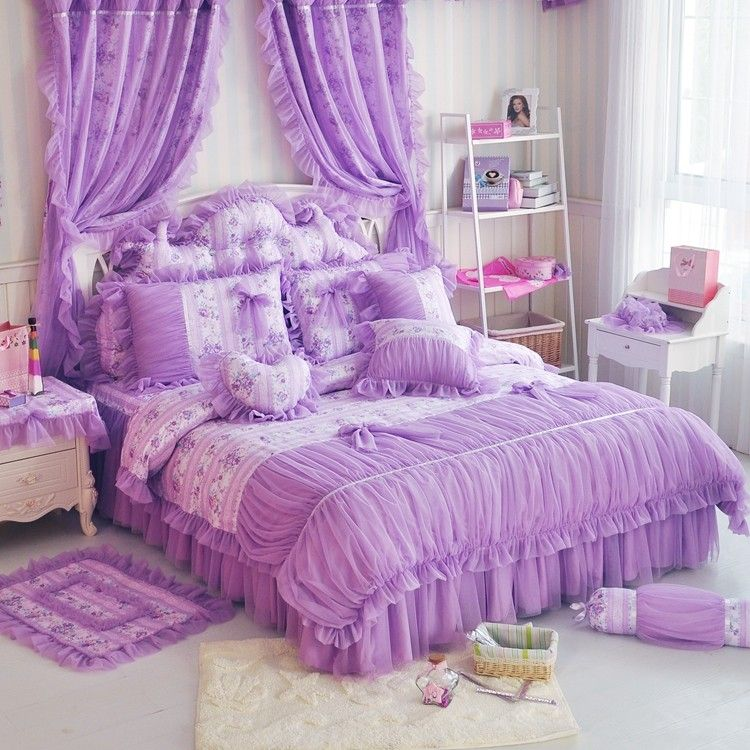Girls Lavendar Purple Frilly Tulle Duvet Cover Bedding