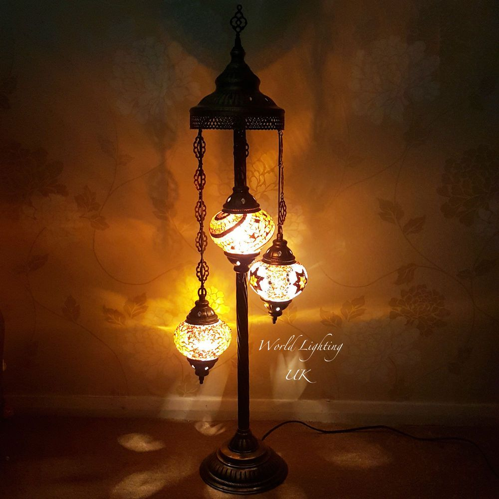 Stained Glass Turkish Moroccan Tiffany Style Floor Lamp Night Light