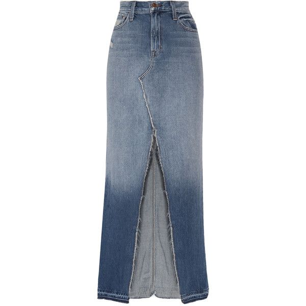 5cea9420c1 J Brand Trystan distressed denim maxi skirt (567 015 LBP) ❤ liked on  Polyvore featuring skirts, mid denim, floor length skirts, button maxi skirt,  ...