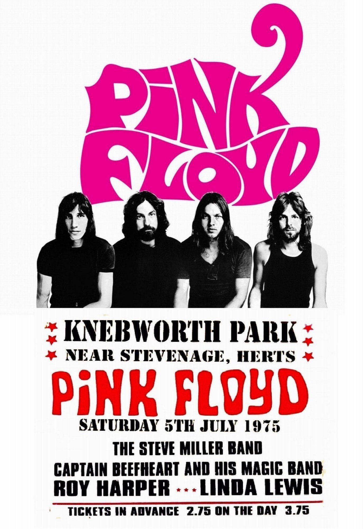 Pink Floyd Vintage Poster Knebworth Park Uk 1975 Pink Floyd Concert Poster Pink Floyd Concert Concert Posters