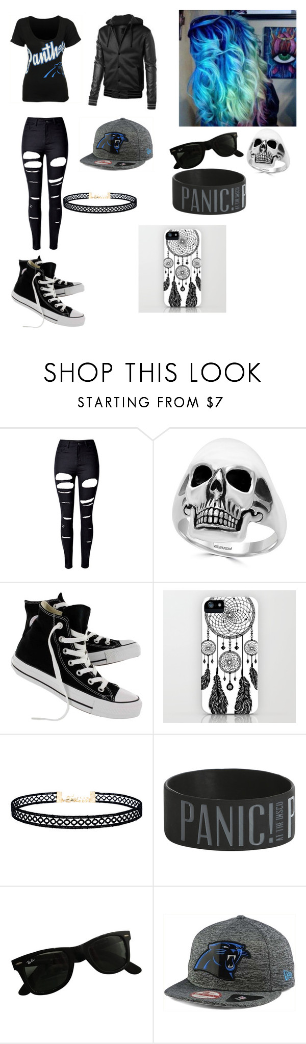 """Random"" by supernerdgirl300 on Polyvore featuring WithChic, Effy Jewelry, Converse, LULUS, Ray-Ban, New Era and '47 Brand"