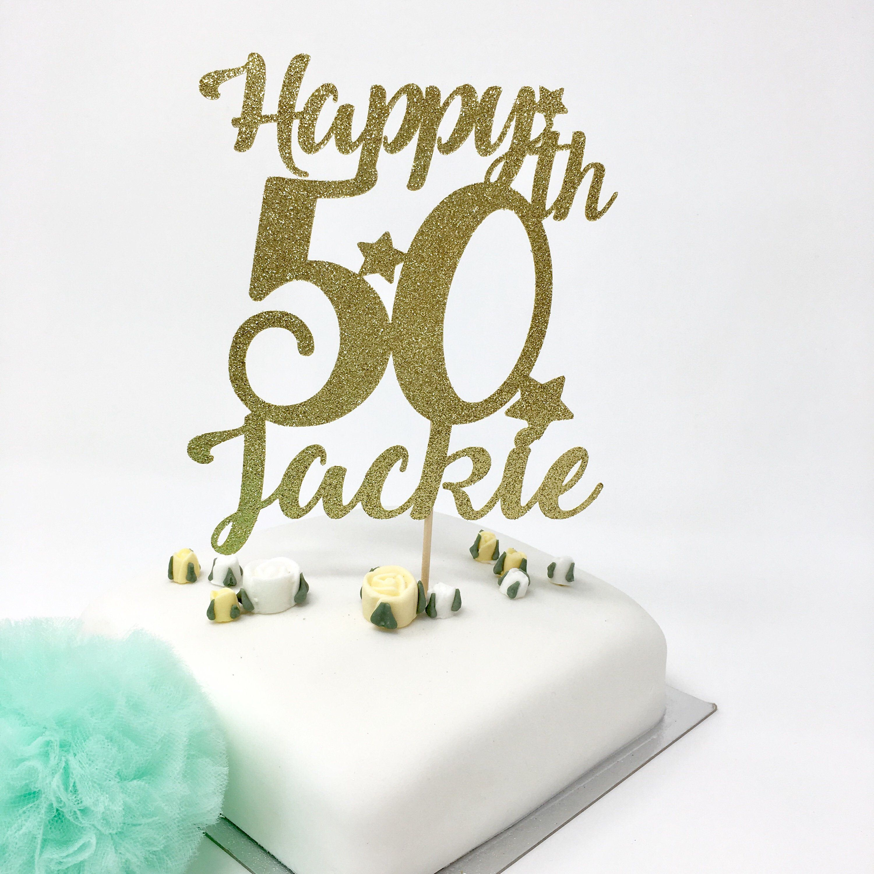 Personalised 50th Birthday Cake Topper With A Name 50th Name Etsy 50th Birthday Cake Toppers Birthday Cake Toppers 50th Birthday Cake