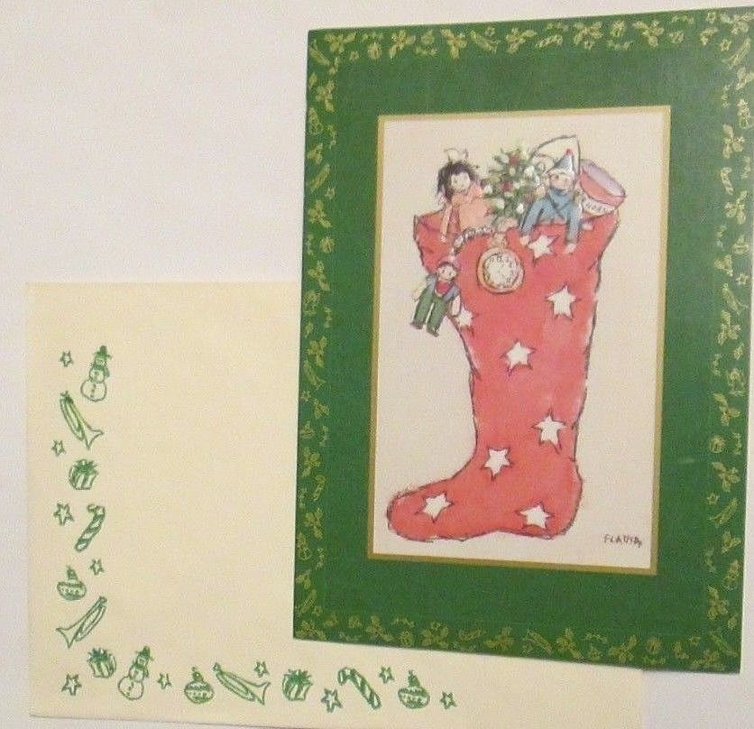 Vtg Gibson Cleo Flavia Weedn Christmas Cards Toy Stuffed Stocking 7 Greetings