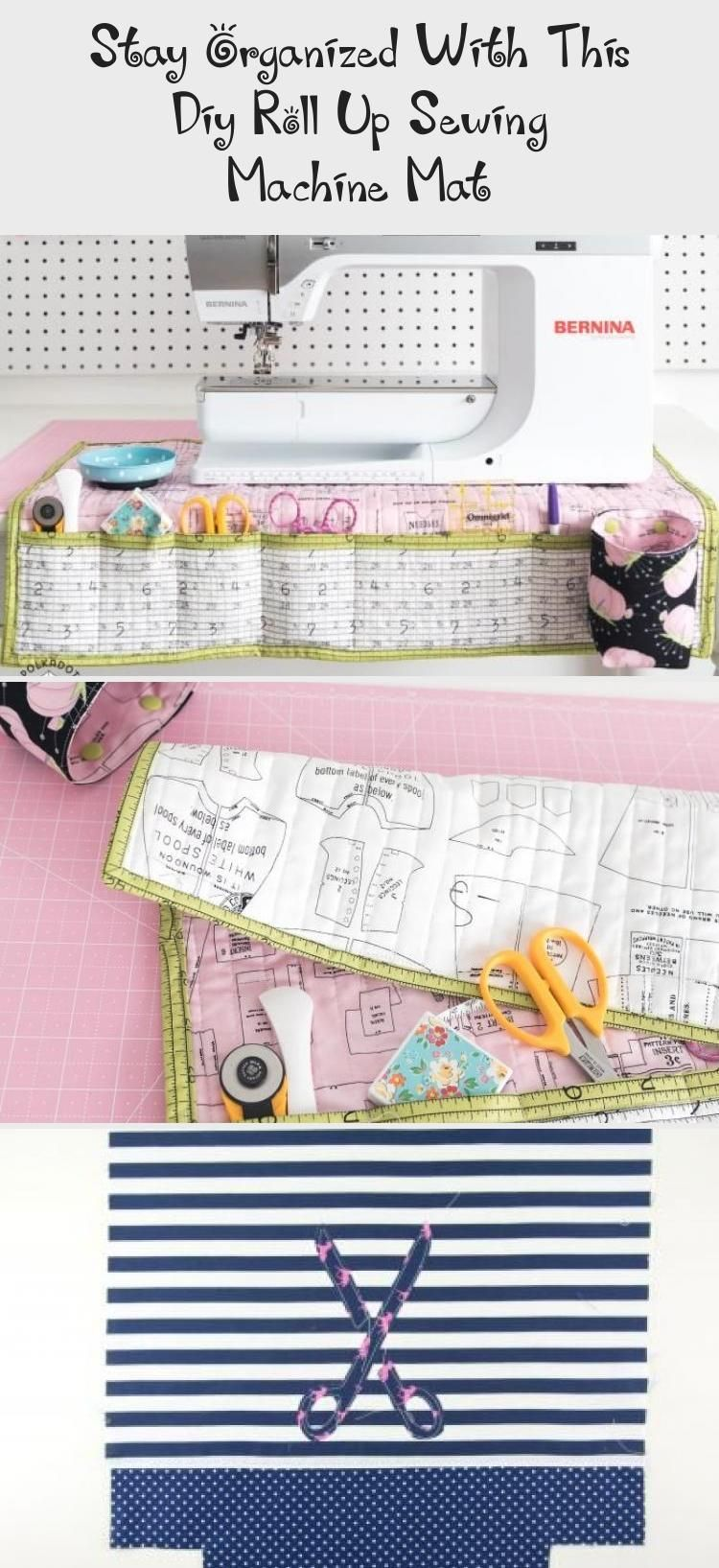 A free sewing tutorial for a fold up travel sewing machine mat and organizer