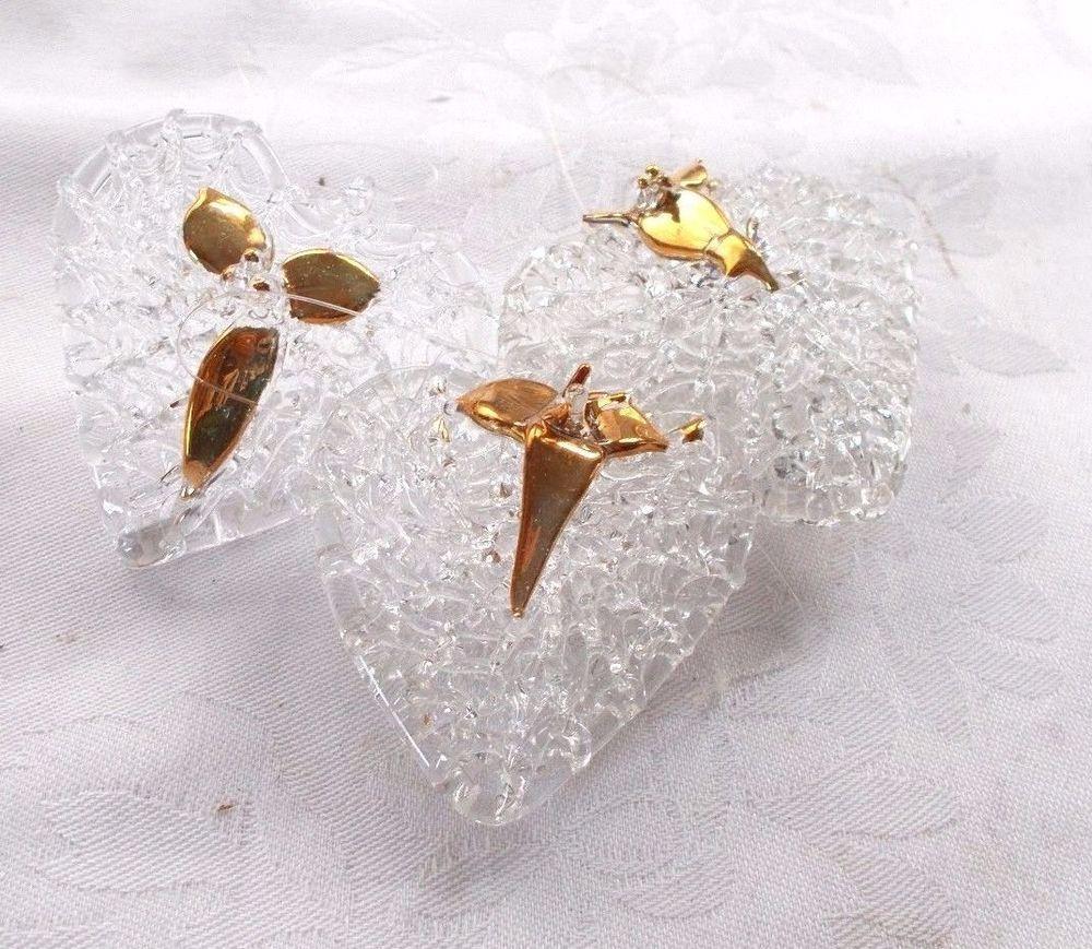 3 Vintage Spun Glass Heart Christmas Ornament