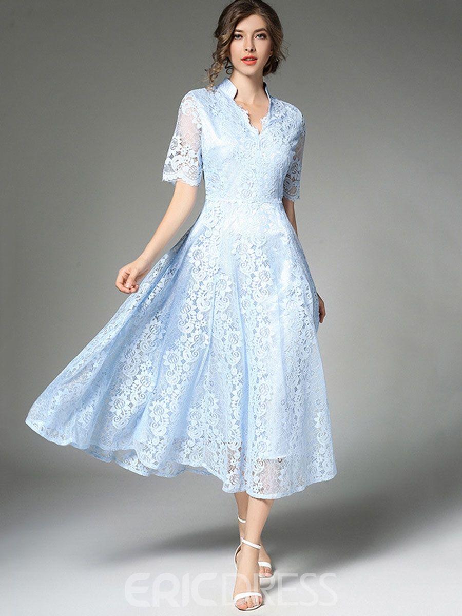 Fashion Women/'s Summer Lace Short Sleeve Collar Maxi Evening Cocktail Dress New