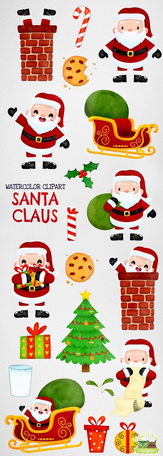 hight resolution of santa claus watercolor clipart instant download vector art etsy