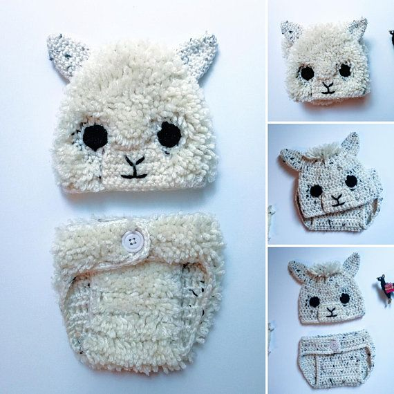 Crochet Alpaca and Llama Hat and Diaper Cover Pattern. Photo Prop. Baby.  0-3 a91cc9fa2fe