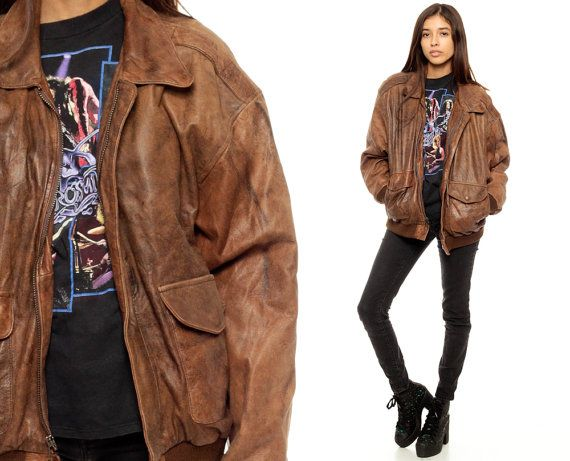 Brown Leather Jacket Distressed Leather Biker BOMBER Coat