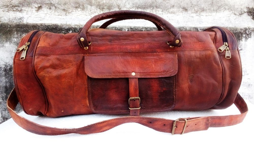 """26"""" Men's genuine Leather large vintage duffle travel gym weekend overnight bags #Jaald #DuffleGymBag"""