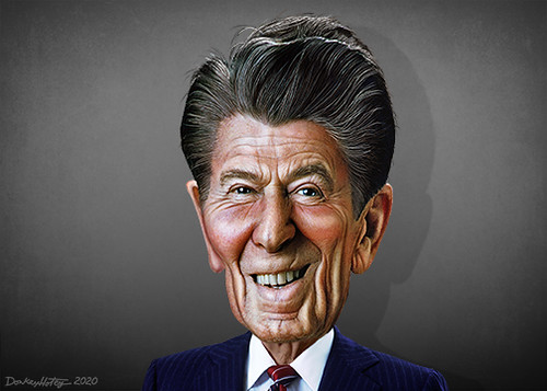 Ronald Reagan Infographic Element Vector Portrait Infographic Ronald Reagan