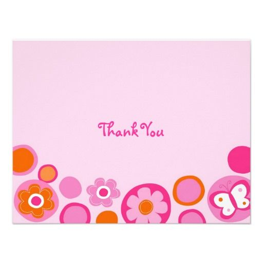Pop Flower Butterfly Thank You Note Cards Personalized Invite