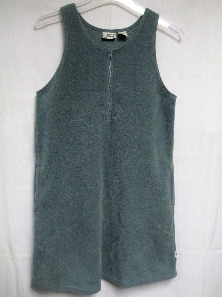 L.L. Bean Kids Dress Jumper Polyester Fleece Green Sleeveless Pockets Girls L  #LLBean #Dress #Everyday