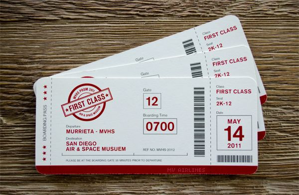 Airline ticket invitations for event at Air Museum Event Ideas