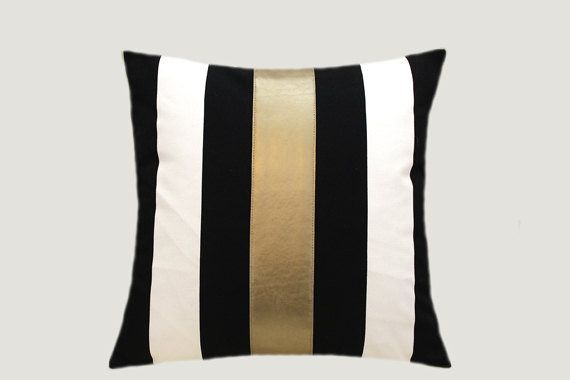 Pillow Black And White And Gold Contrast White Throw Pillows Decorative Pillow Cases Pillows Decorative Diy